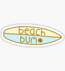 yellow and blue beach bum surfboard  Sticker