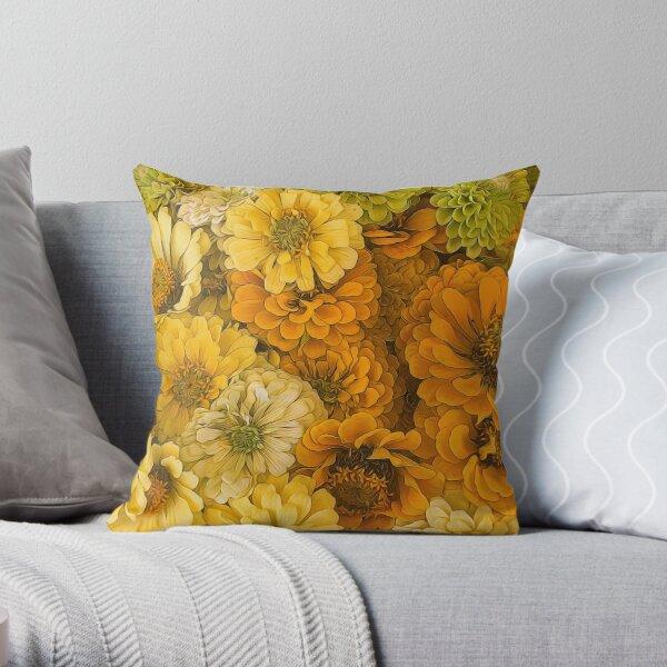 Yellow Zinnias Throw Pillow