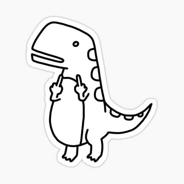 Middle Finger t-rex Dinosaur Sticker