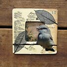 Bird Barbed Wire Fence Grasslands Collage Wood Frame by Jillian Crider