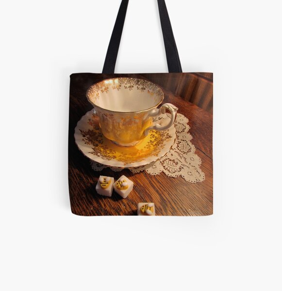 Gold Yellow White Traditional Teacup Saucer Sugar Bees Lace Photo All Over Print Tote Bag