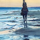 Daybreak Horse Rider Beach Seaside Shore Silhouette Dawn by Jillian Crider