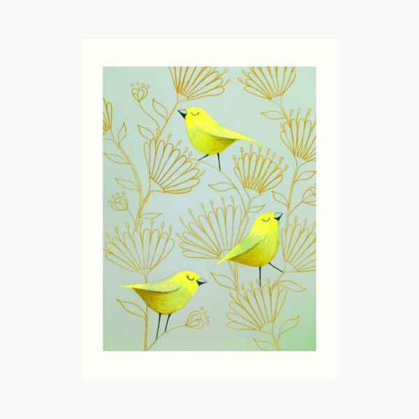 Golden birds Art Print