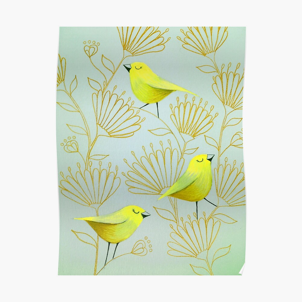 Golden birds Poster