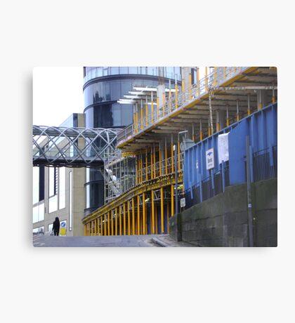 straight & curved - grey, blue and yellow, Calton Hill, Edinburgh Metal Print