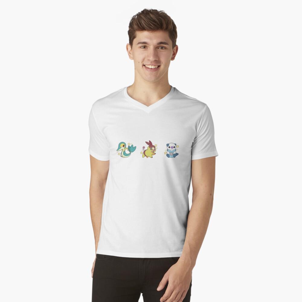 Pokémon   Shiny Unova Starters Mens V-Neck T-Shirt Front