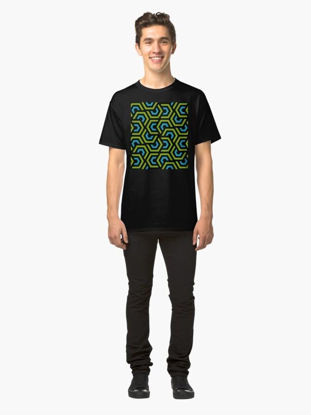 Alternate view of Geometric Pattern: Layered Hexagon: Green Classic T-Shirt