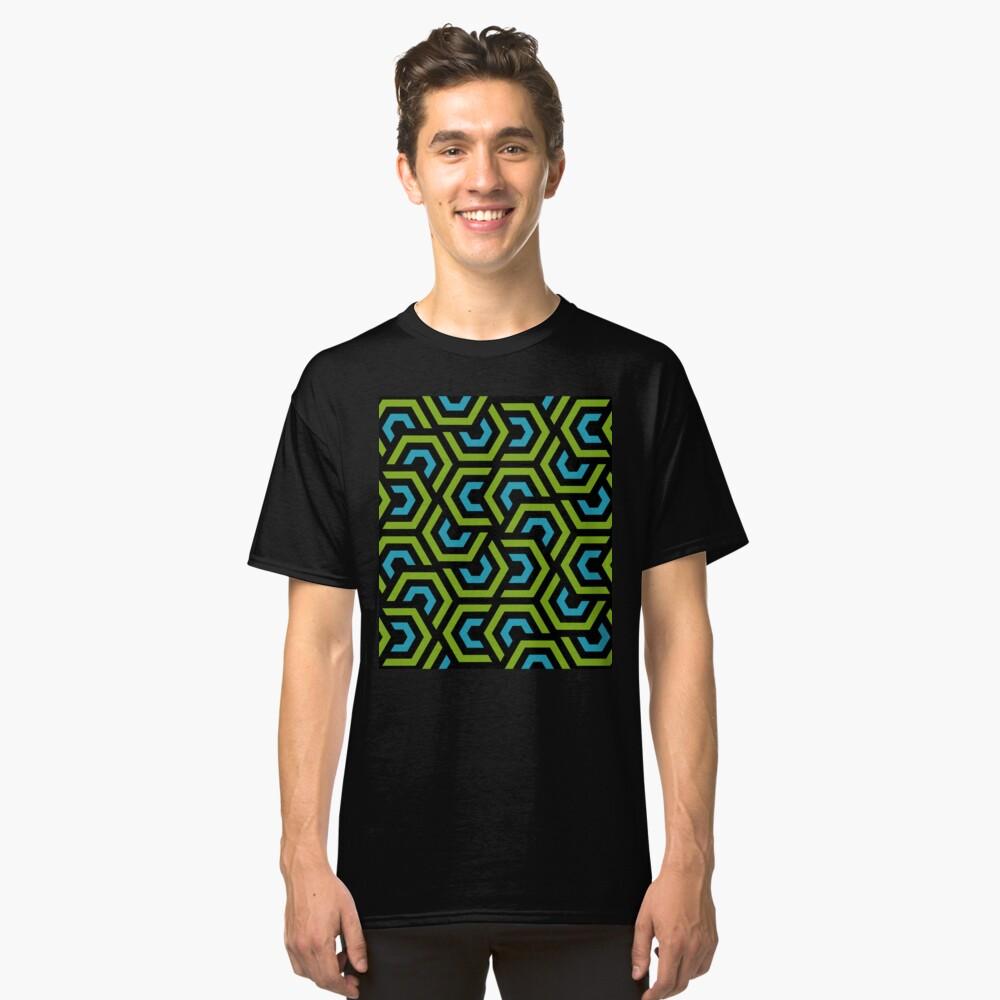 Geometric Pattern: Layered Hexagon: Green Classic T-Shirt