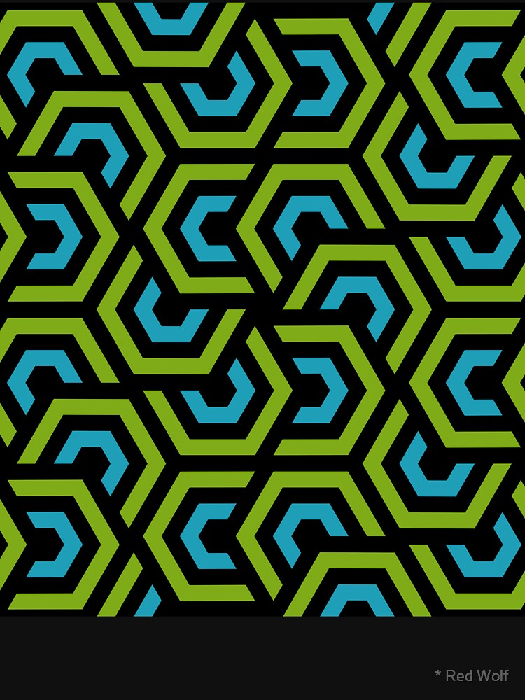 Geometric Pattern: Layered Hexagon: Green by redwolfoz