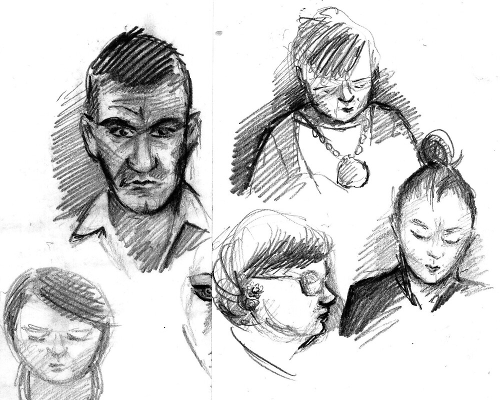 fast people sketching in town by Jo Cave  (cavecorner)