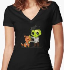 Doggy Playing Bone Women's Fitted V-Neck T-Shirt