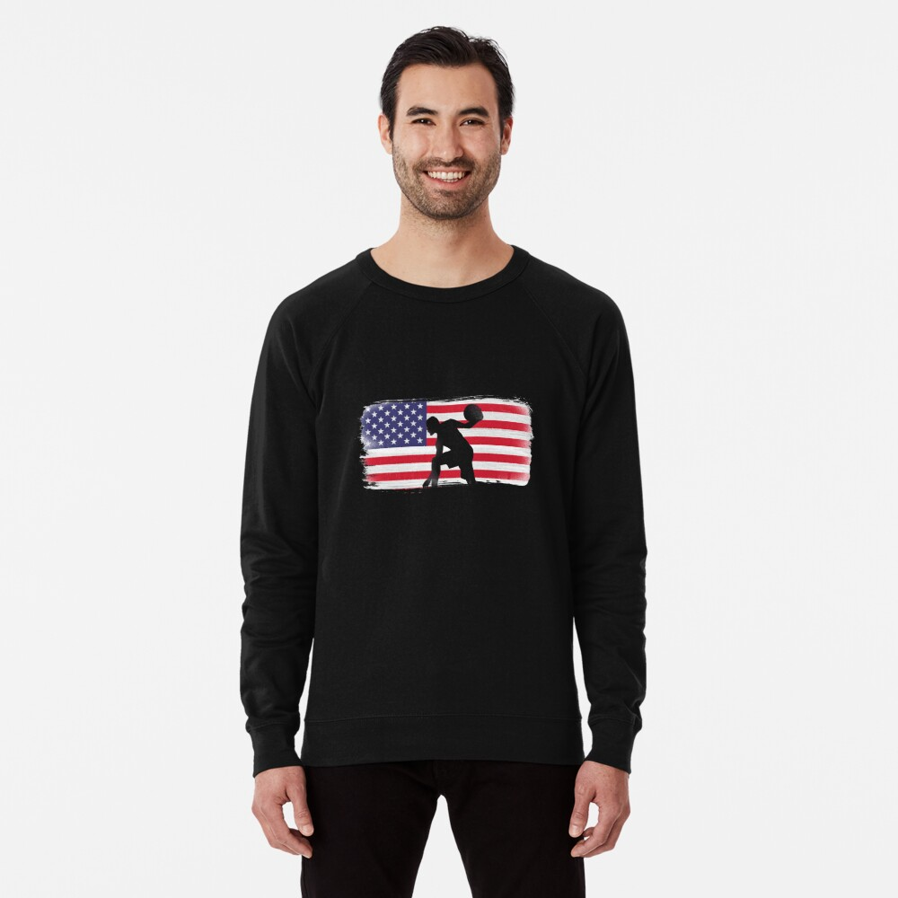 American Flag Basketball Player Lightweight Sweatshirt