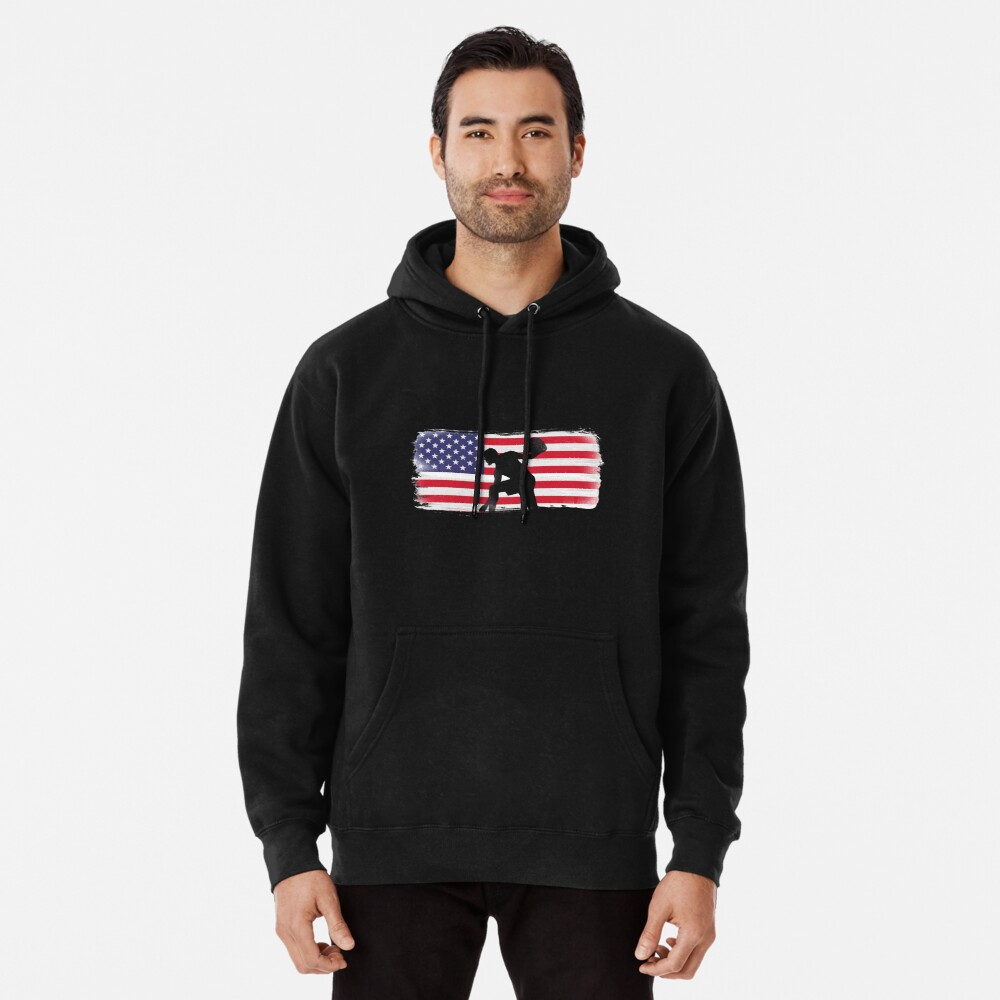 American Flag Basketball Player Pullover Hoodie