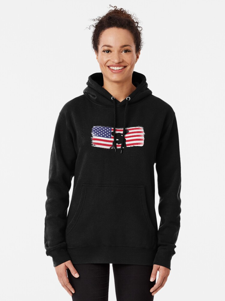 Alternate view of American Flag Basketball Player Pullover Hoodie