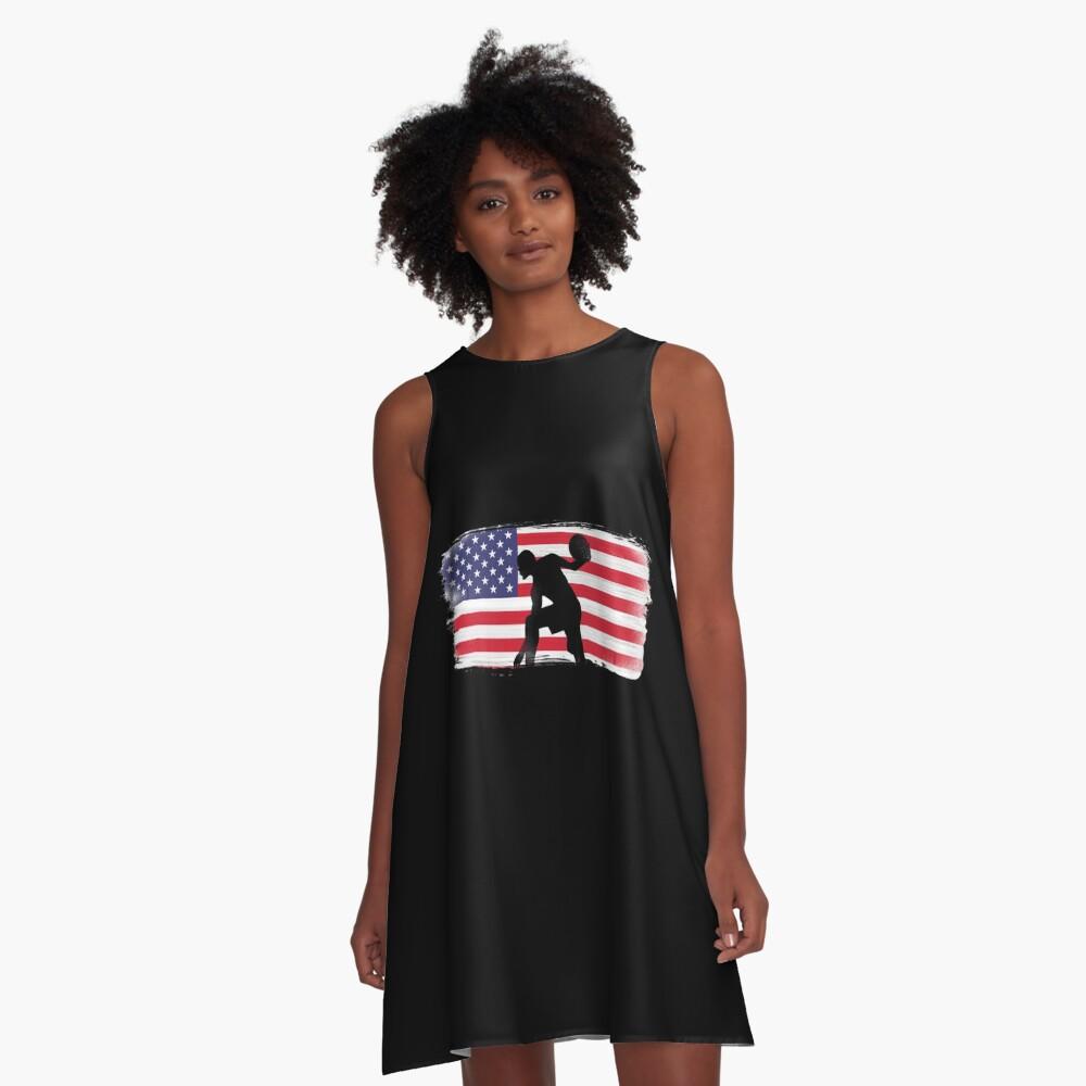 American Flag Basketball Player A-Line Dress