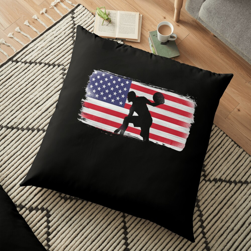 American Flag Basketball Player Floor Pillow