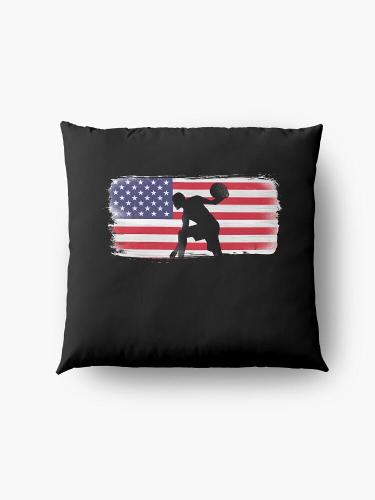 Alternate view of American Flag Basketball Player Floor Pillow