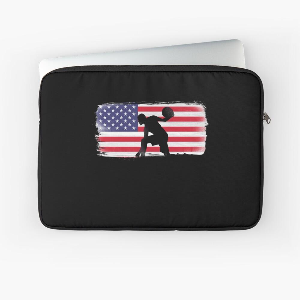 American Flag Basketball Player Laptop Sleeve