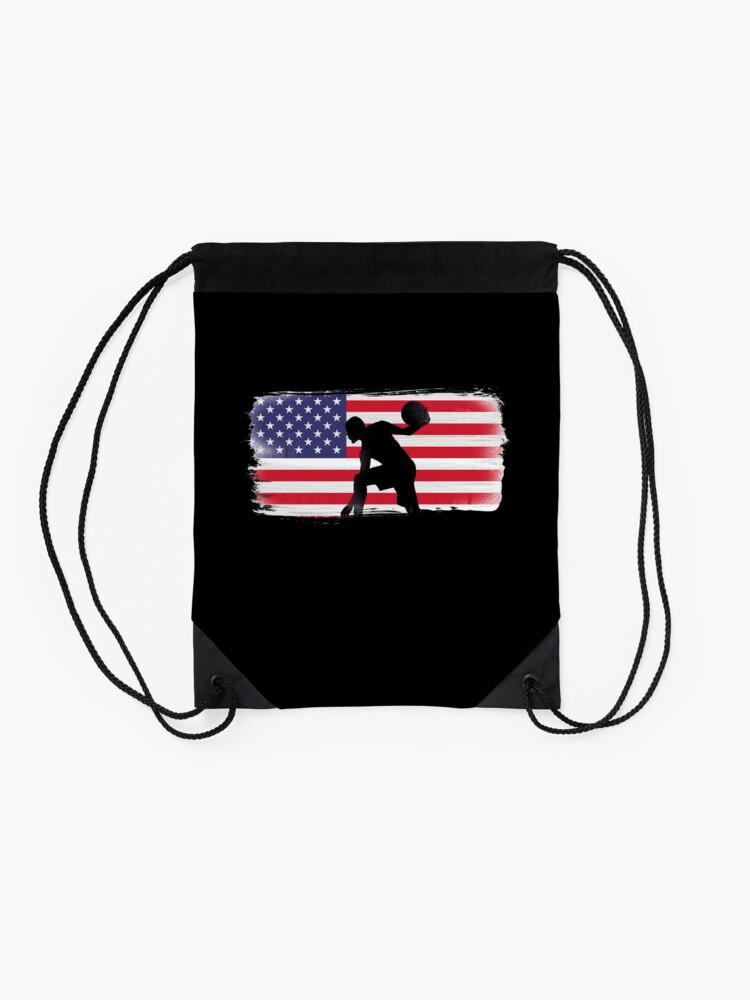 Alternate view of American Flag Basketball Player Drawstring Bag
