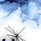 Blue Abstract Minimal Painting, Windimill Photography by PrintsProject
