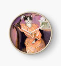 Portrait einer Katze Uhr
