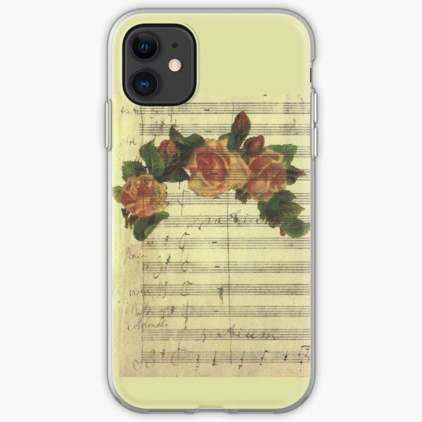 Digital Collage Old Music Sheet Vintage Halo Pink Roses iPhone Soft Case
