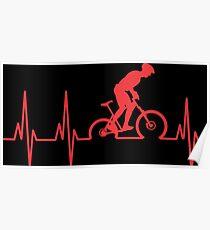 Mountain Bike Heartbeat Poster