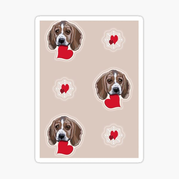 Beagles Galore with Love Hearts Design Pattern All Over Sticker