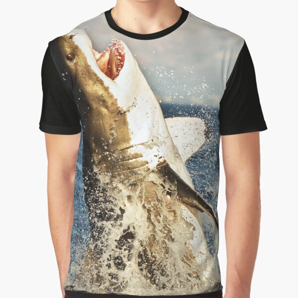 Realistic Great White Shark Jumping Out Of The Ocean Graphic T-Shirt