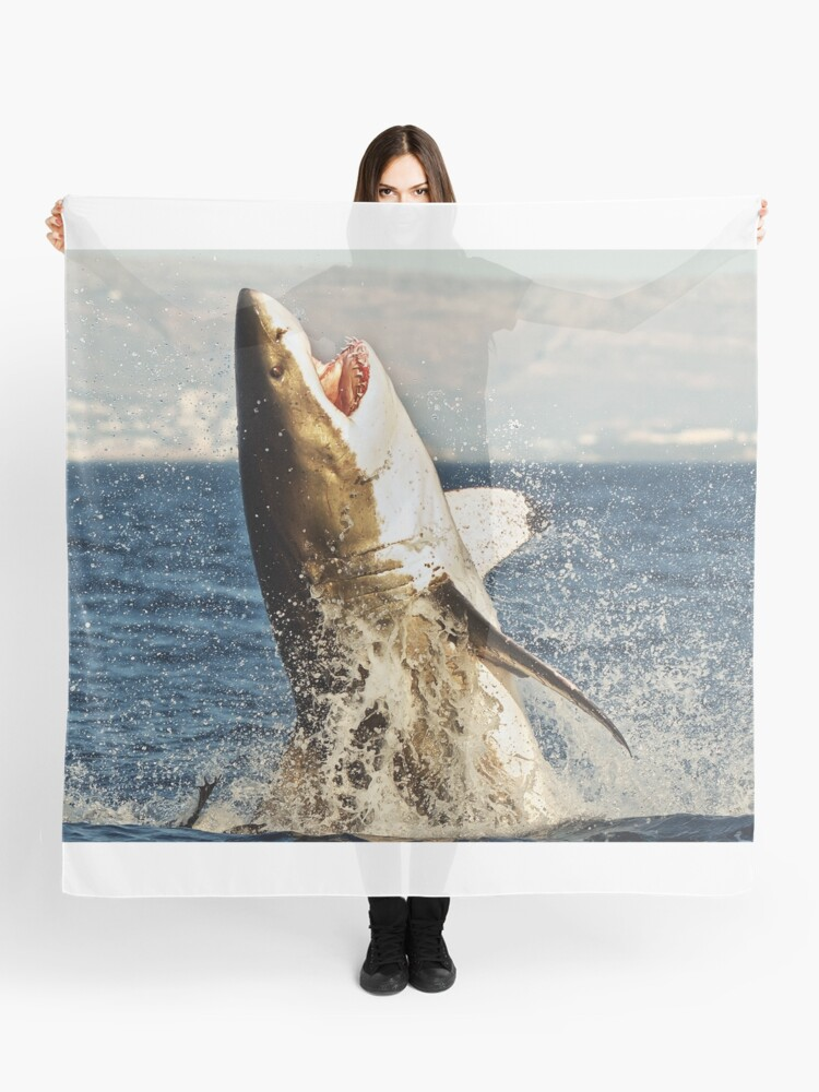 Realistic Great White Shark Jumping Out Of The Ocean | Scarf