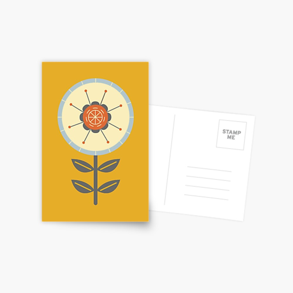 Retro Scandinavian Flower Design Postcard