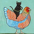Chicken Ride Wyandotte and Black Cat by Ryan Conners