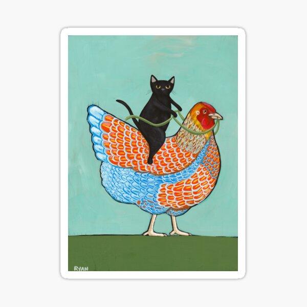 Chicken Ride Wyandotte and Black Cat Sticker