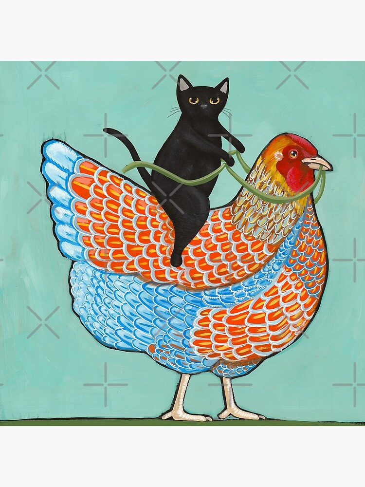 Chicken Ride Wyandotte and Black Cat by kilkennycat