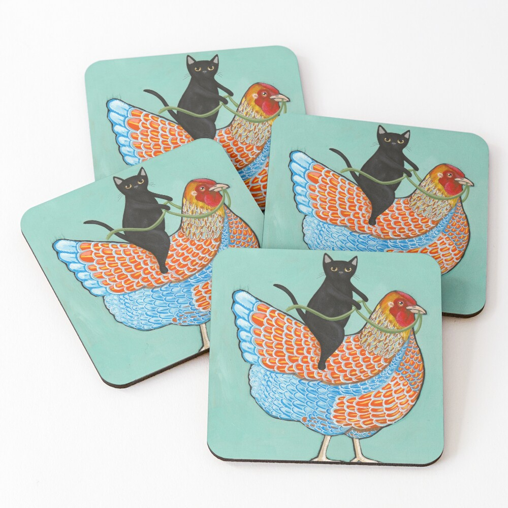 Chicken Ride Wyandotte and Black Cat Coasters (Set of 4)