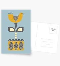 Retro Scandinavian Bird Design Postcards