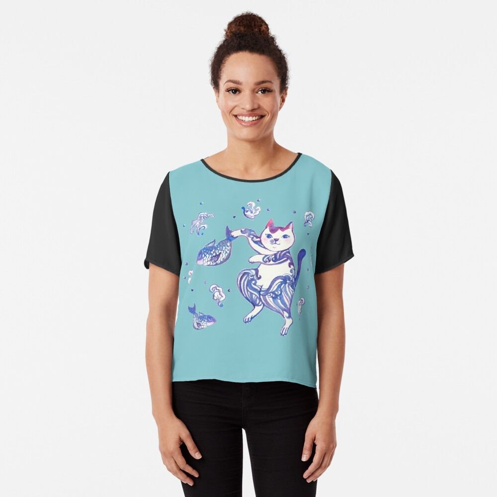 """""""A cat catching fishes"""" T-shirt by whya 