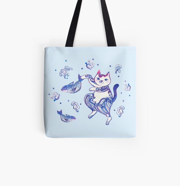 A cat catching fishes All Over Print Tote Bag