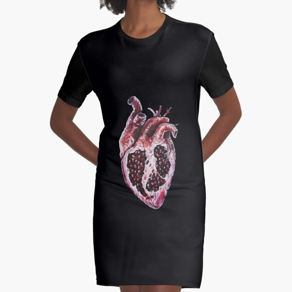 Pomegranate Heart Graphic T-Shirt Dress