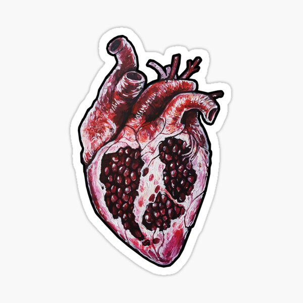 Pomegranate Heart Sticker