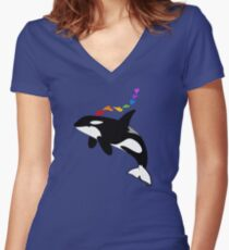 Rainbow orca Women's Fitted V-Neck T-Shirt