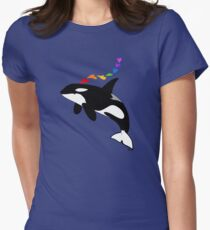 Rainbow orca Women's Fitted T-Shirt