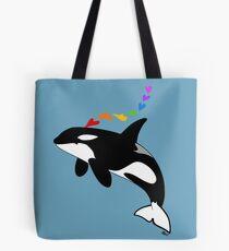 Rainbow orca Tote Bag