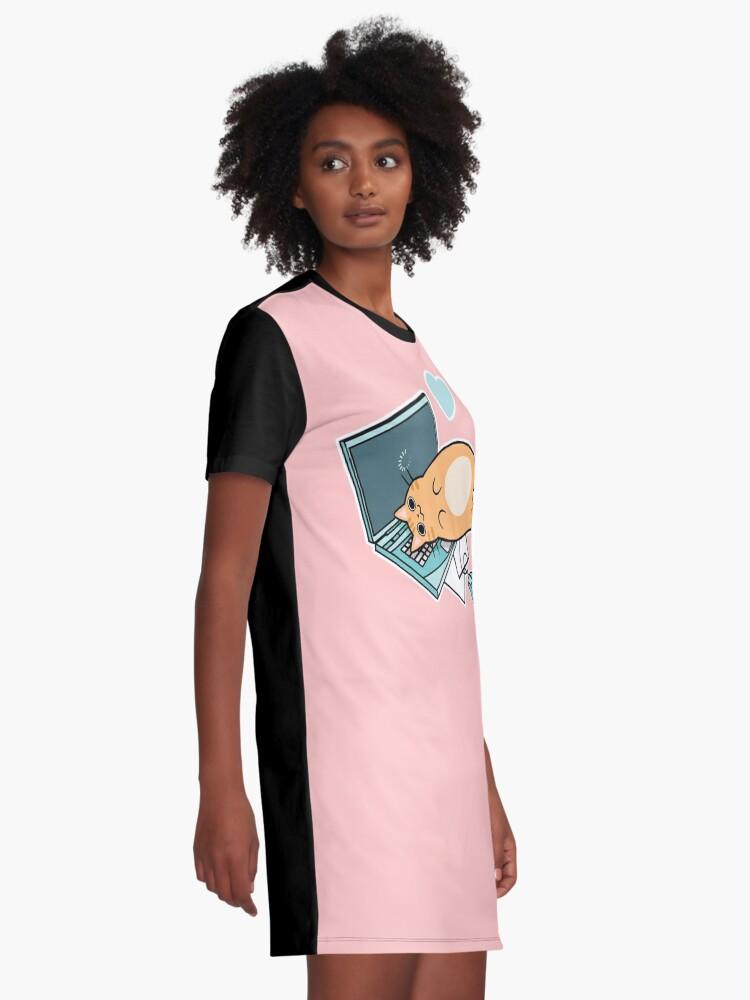 Alternative Ansicht von Nette Laptop-Katze T-Shirt Kleid