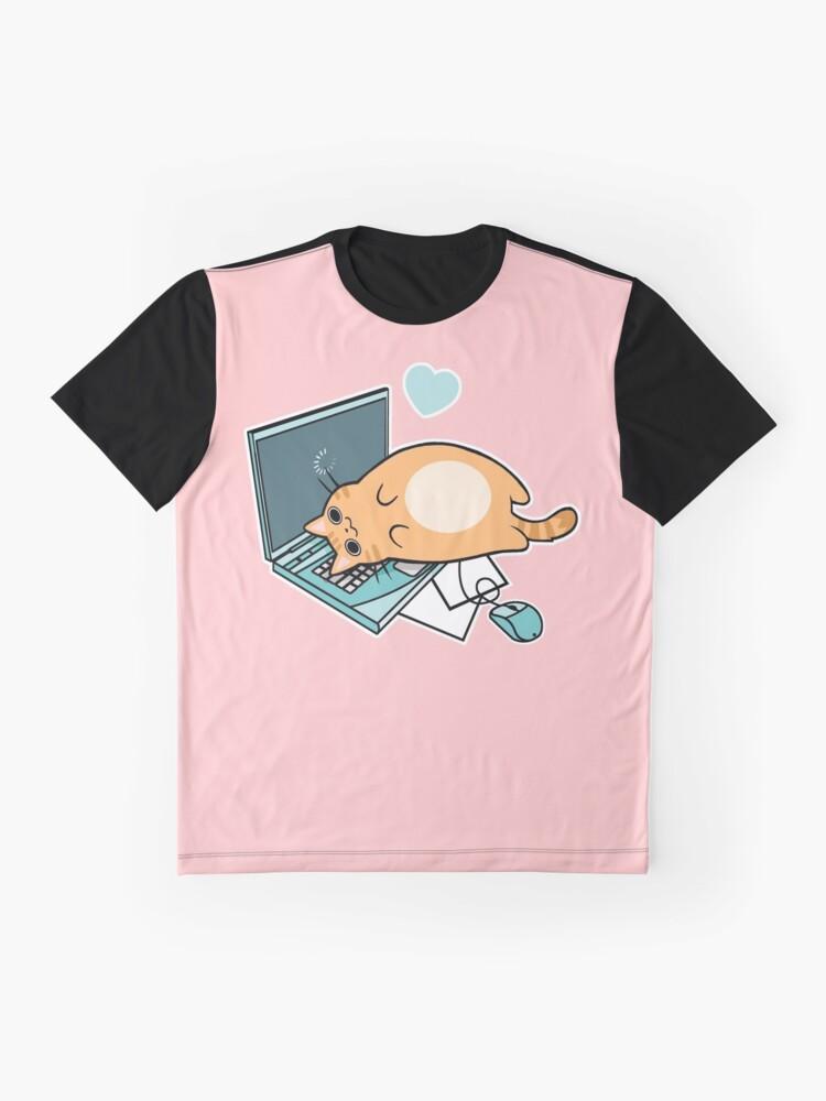 Alternative Ansicht von Nette Laptop-Katze Grafik T-Shirt