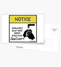 Employees Must Wash Hands After Using JavaScript Postcards