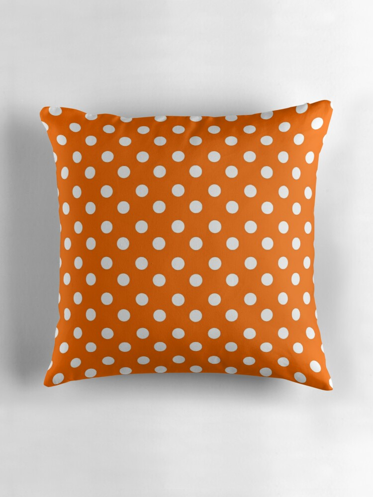 Orange and White Polka Dots Pattern Throw Pillows by bimbys Redbubble