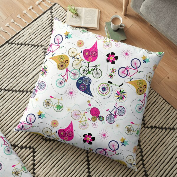 Cycledelic White Floor Pillow