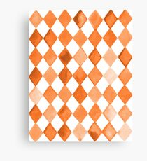 Orange-Brown Watercolour Diamond Pattern Canvas Print
