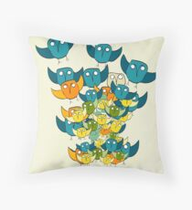 And out of nowhere came an owl storm Throw Pillow